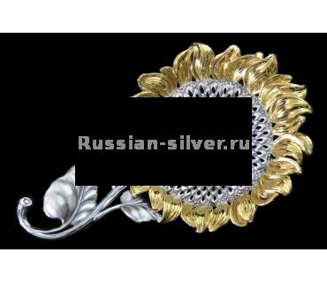 Ситечко для чая «Подсолнух», производство Русское Серебро ВЮЗ, г. Волгореченск, серебро 925 пробы
