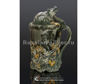 Пивная кружка «Медведь»  7215 производство Русское Серебро ВЮЗ, г. Волгореченск, серебро 925 пробы