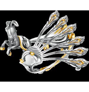 «Конёк-горбунок»  серебряная подставка и 6 чайных ложек