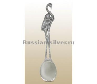 Чайная ложка «Журавушка полдень», производство Русское Серебро ВЮЗ, г. Волгореченск, серебро 925 пробы
