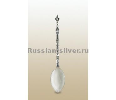 Чайная ложка «Петушок», производство Русское Серебро ВЮЗ, г. Волгореченск, серебро 925 пробы